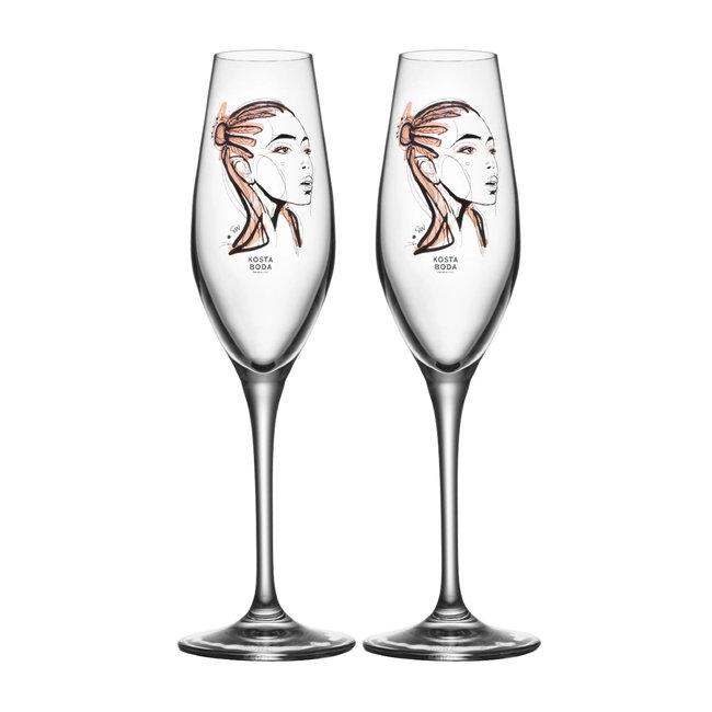 Sara Woodrow Kosta Boda champagneglas 2-pack