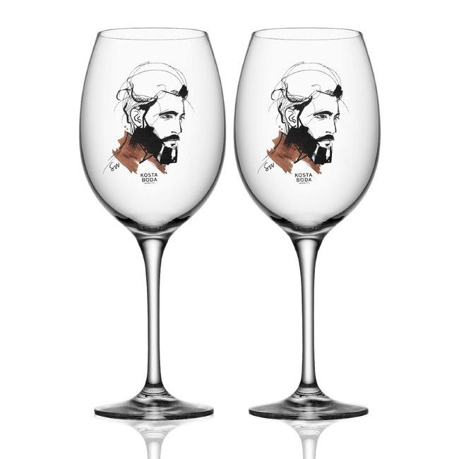 Sara Woodrow Kosta Boda wijnglas 2-pack
