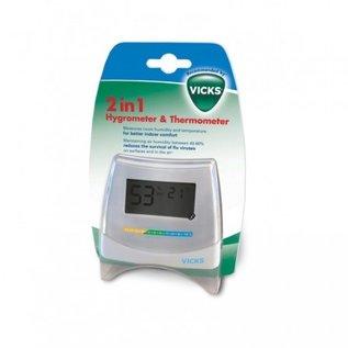 Vicks 2-in-1 Hygro- & Thermometer meet de temperatuur en de luchtvochtigheidsgraad.