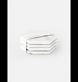 Set 4 Onderzetters White Marble