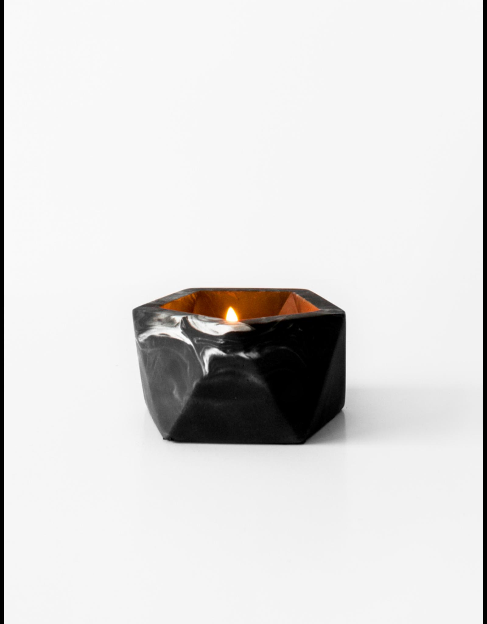 Theelichthouder Vand Black Marble