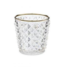 Theelichthouder Glas Gouden Rand
