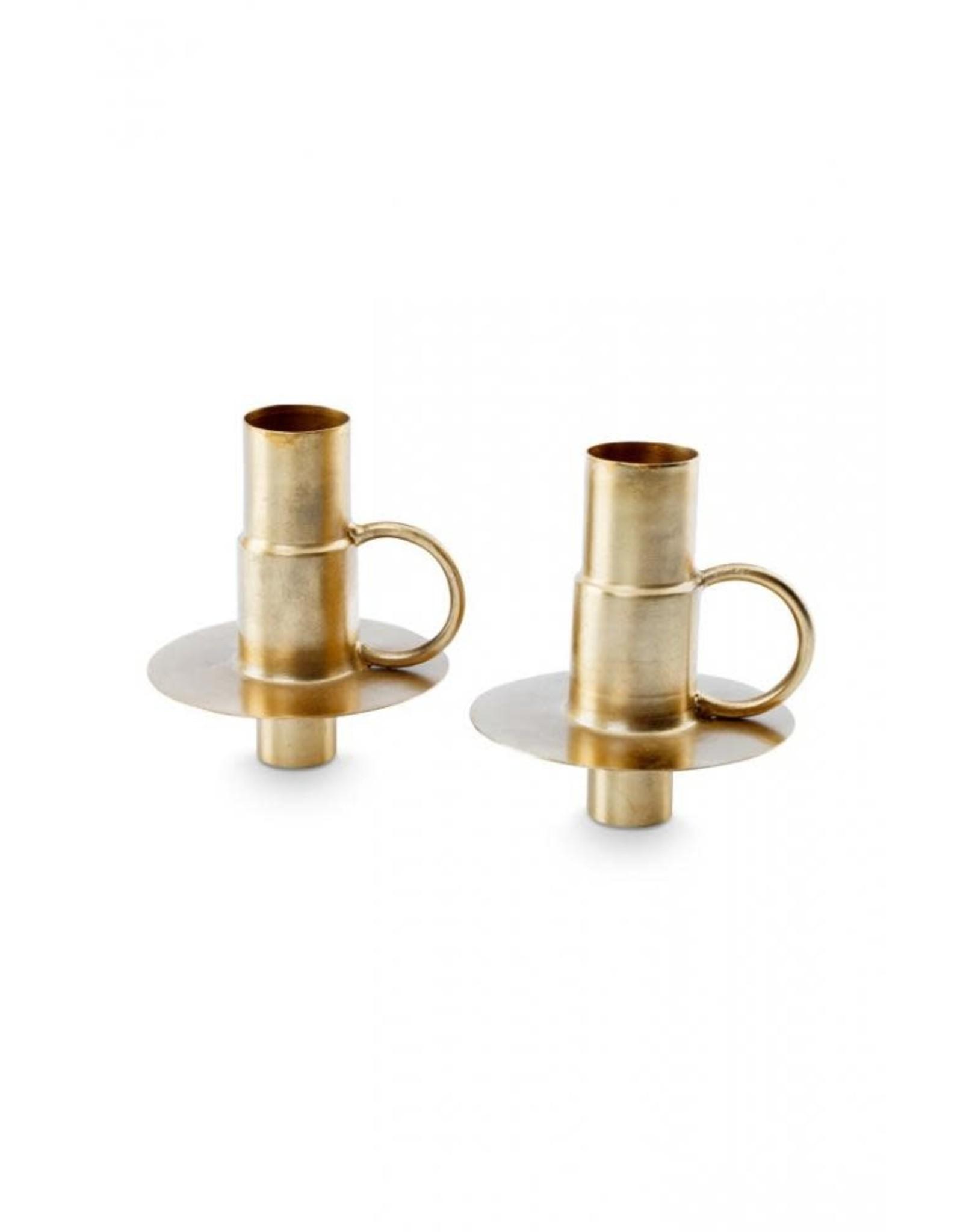 Set van 2 kaarsenhouders goud