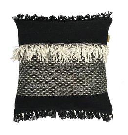 Kussen Fringe Black/White