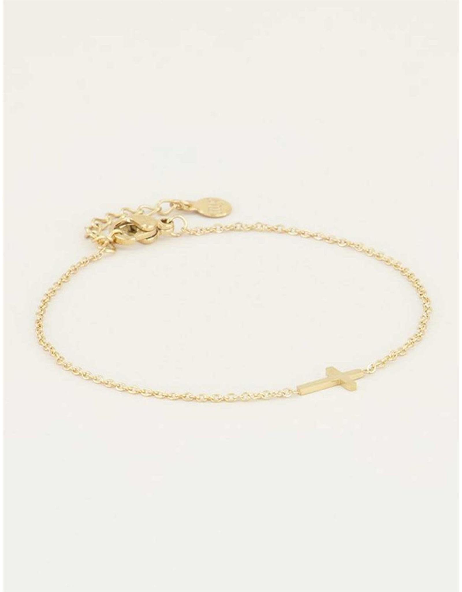 Armband kruisje goud