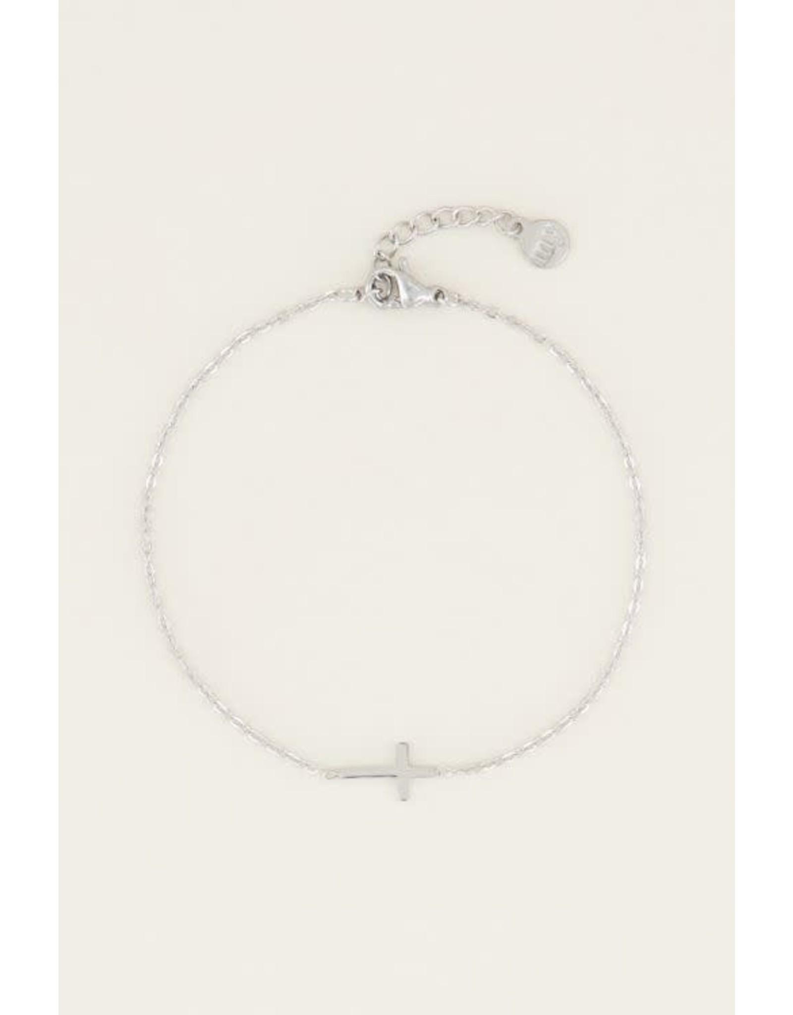 Armband kruisje zilver