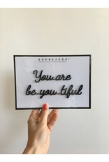Zelfklevende Quote A5 Black You are beautiful