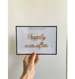 Zelfklevende Quote A5 Gold Happily ever after
