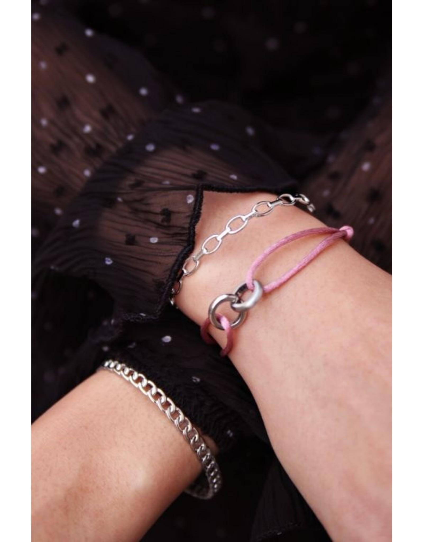 Vaste Armband Platte Schakels Zilver