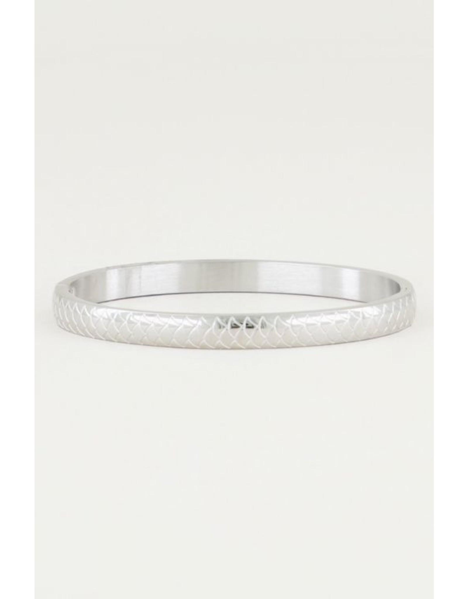 Vaste Armband Schubben Zilver