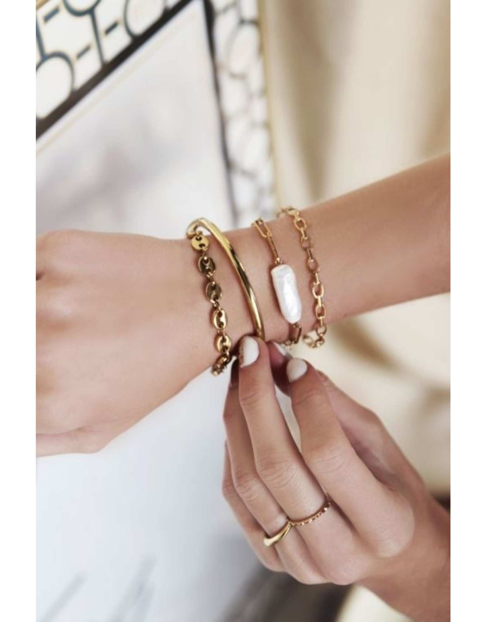 Vaste armband schakels goud