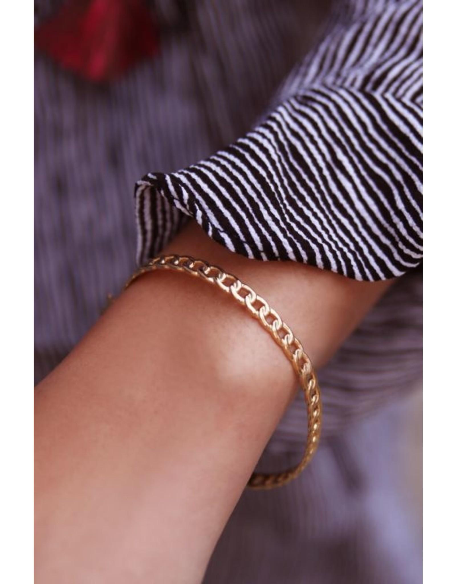 Vaste armband platte schakels goud
