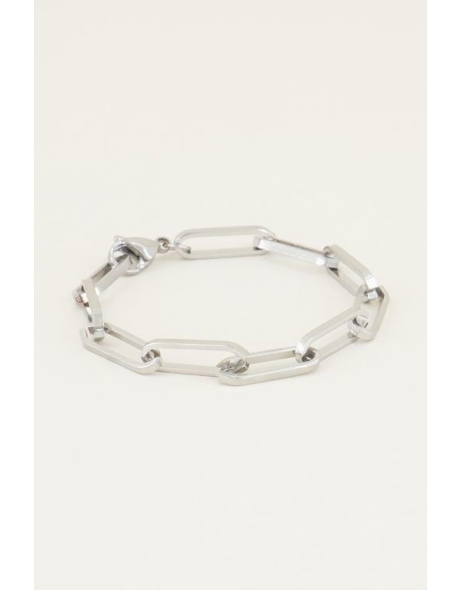 Armband Grote Schakel Zilver
