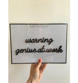 Zelfklevende Quote A4 Black Genius at work
