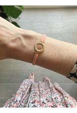 Armband rondje touwtje peach