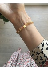 Armband kristal touwtje peach
