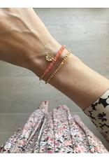 Armband dubbel touwtje peach