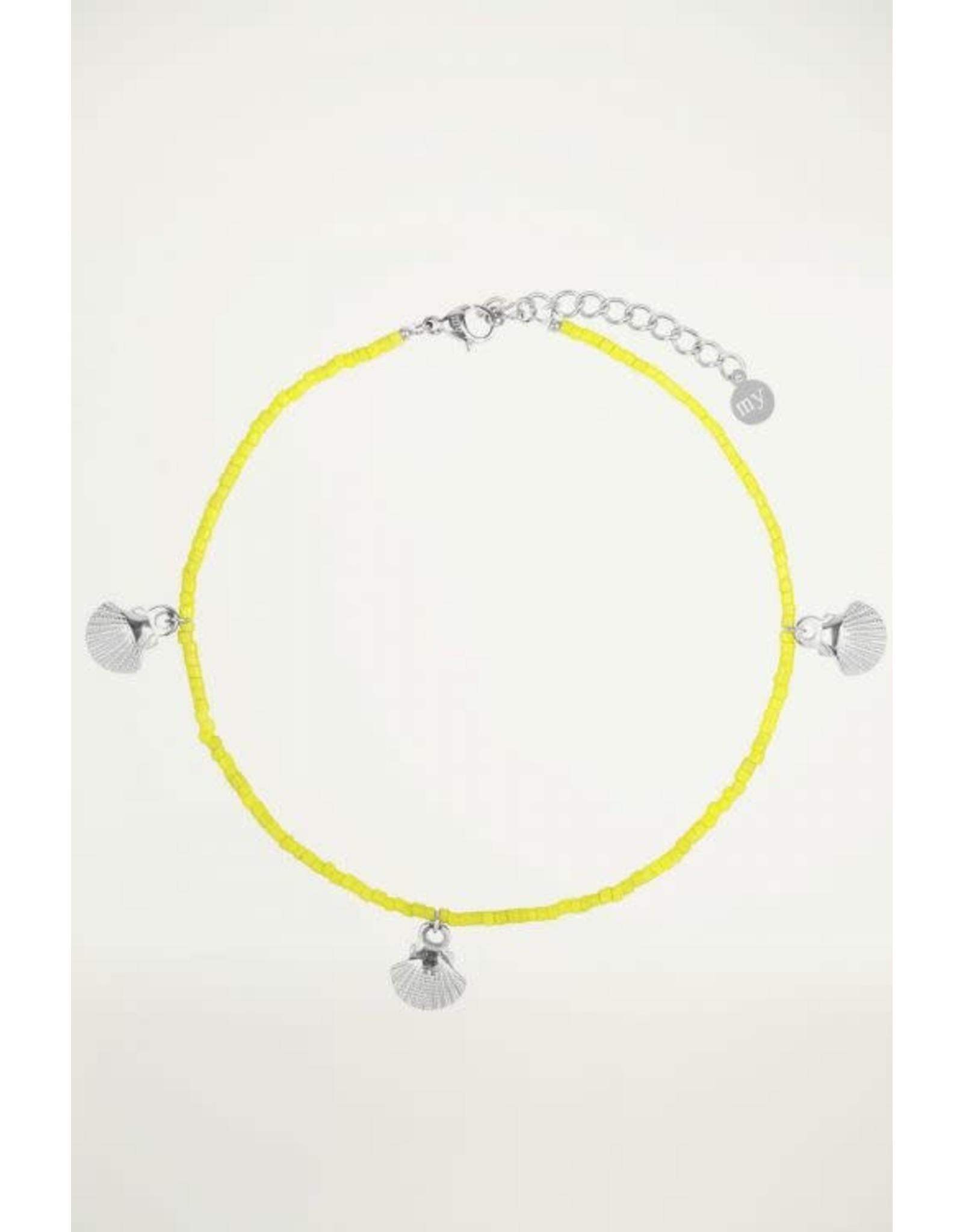 Enkelbandje geel schelp zilver
