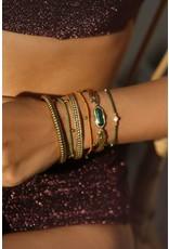 Vaste armband recht bolletjes goud