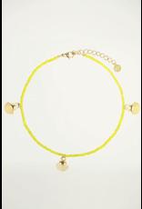 Enkelband geel schelp goud