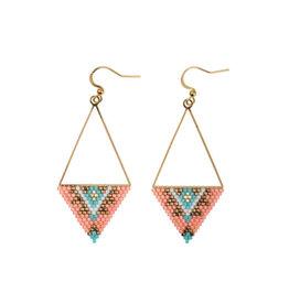 Oorbellen Triangle Pink/Turq