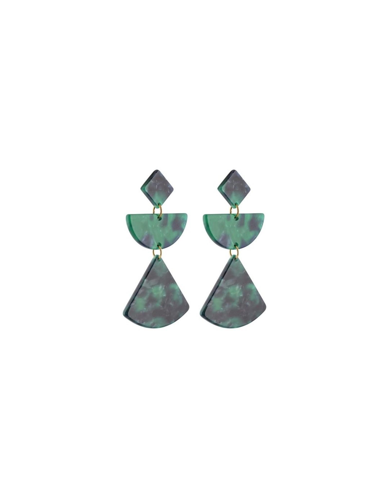 Oorbellen Green Acetaat