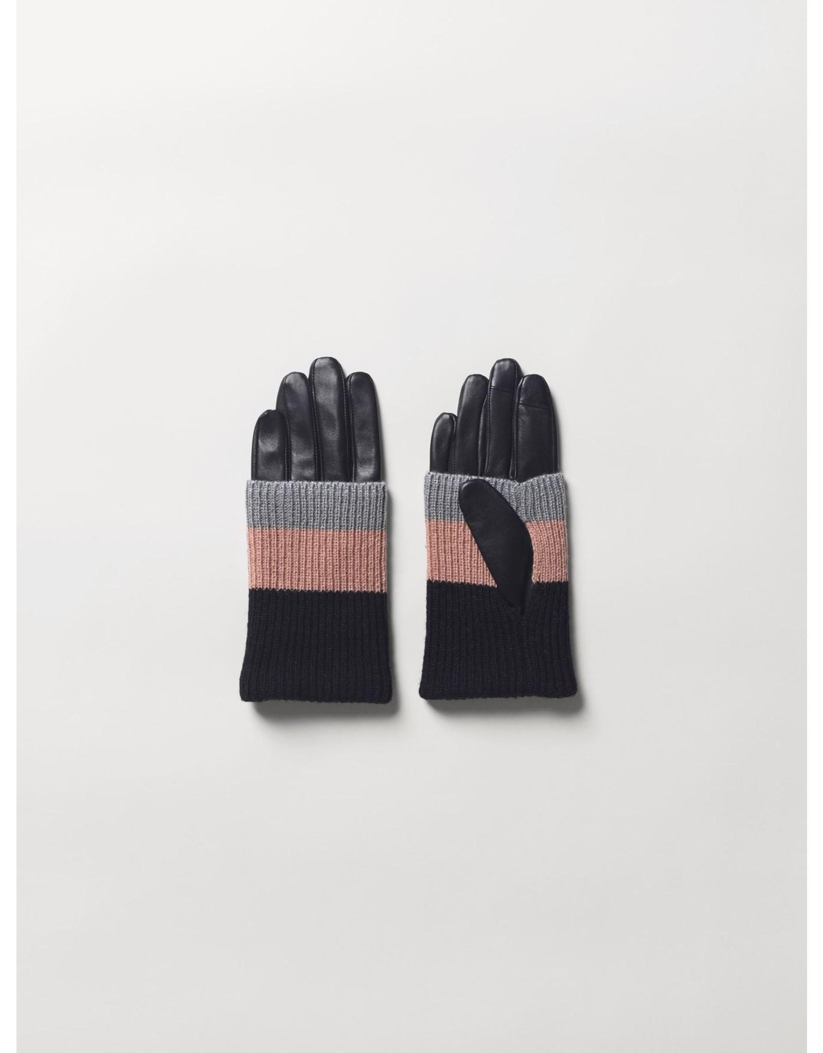 Handschoenen Leder Black/Pink/Grey