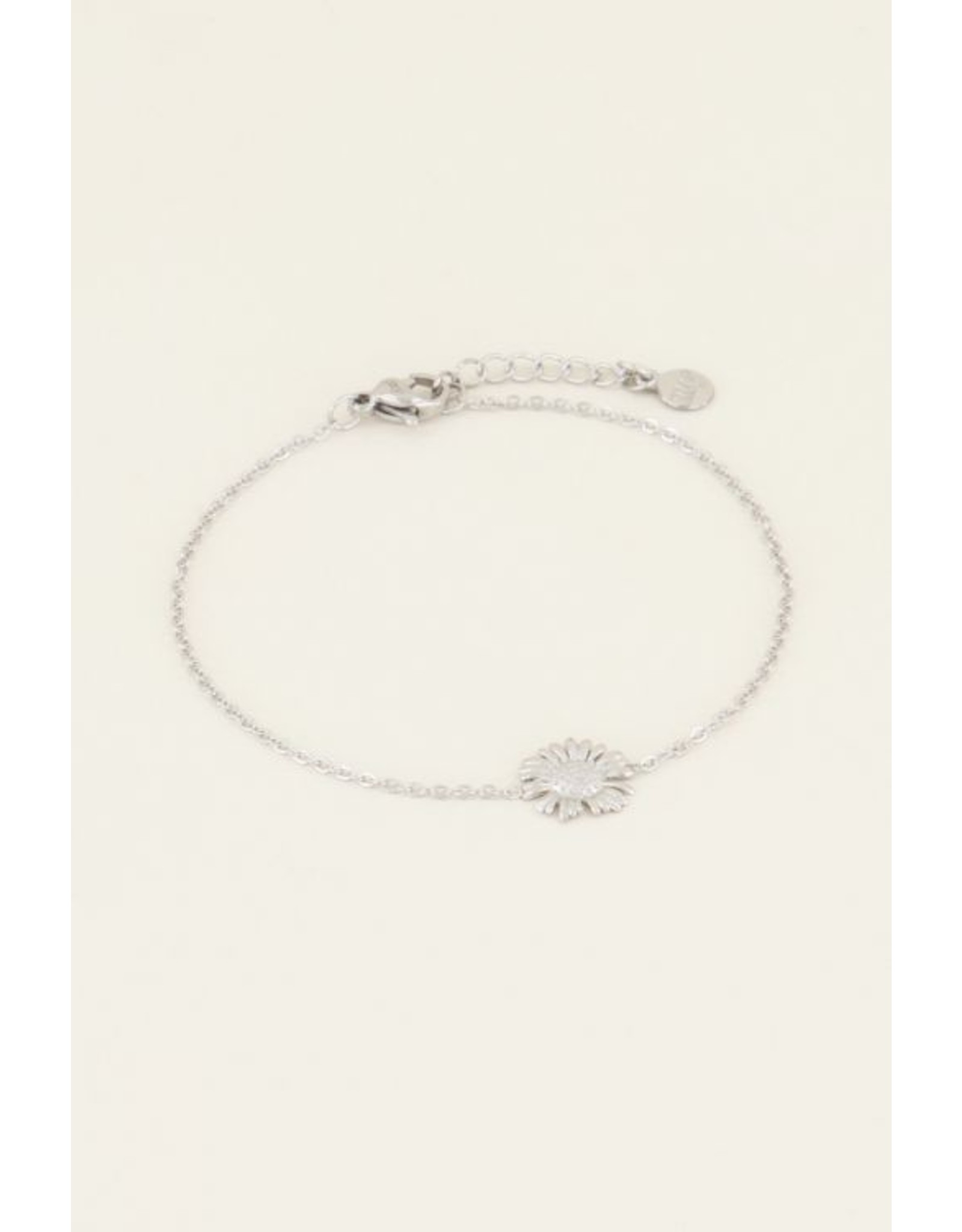 Armband madeliefje zilver