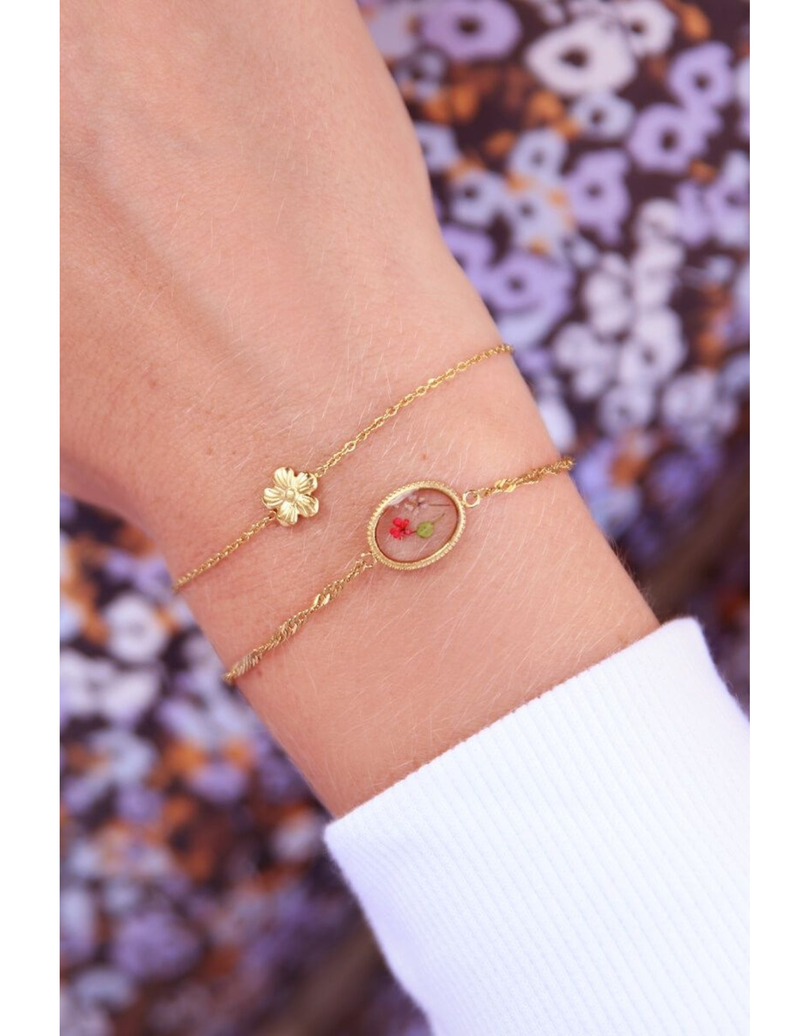 Armband wildflowers ovaal goud