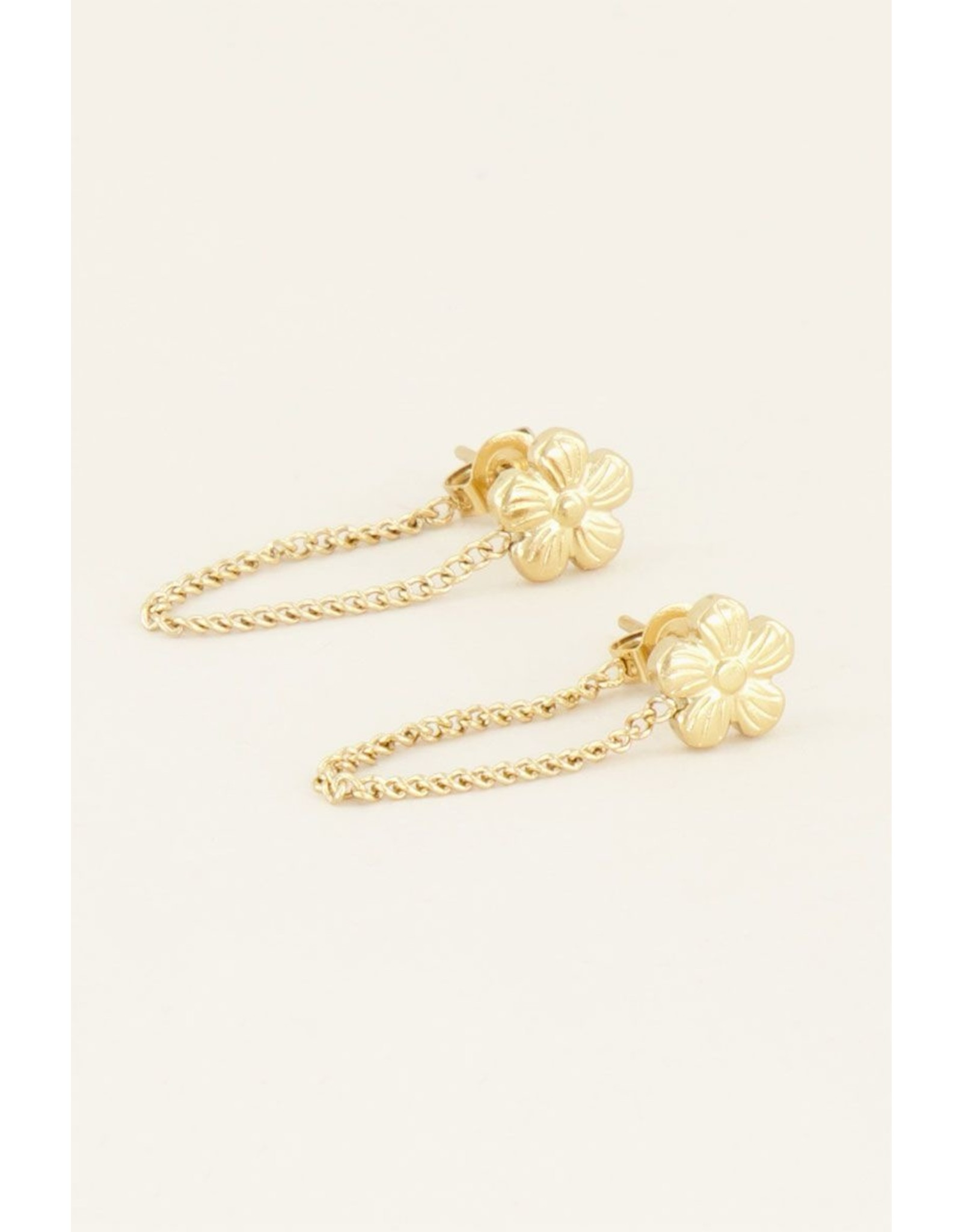 Oorhangers chain viooltje goud