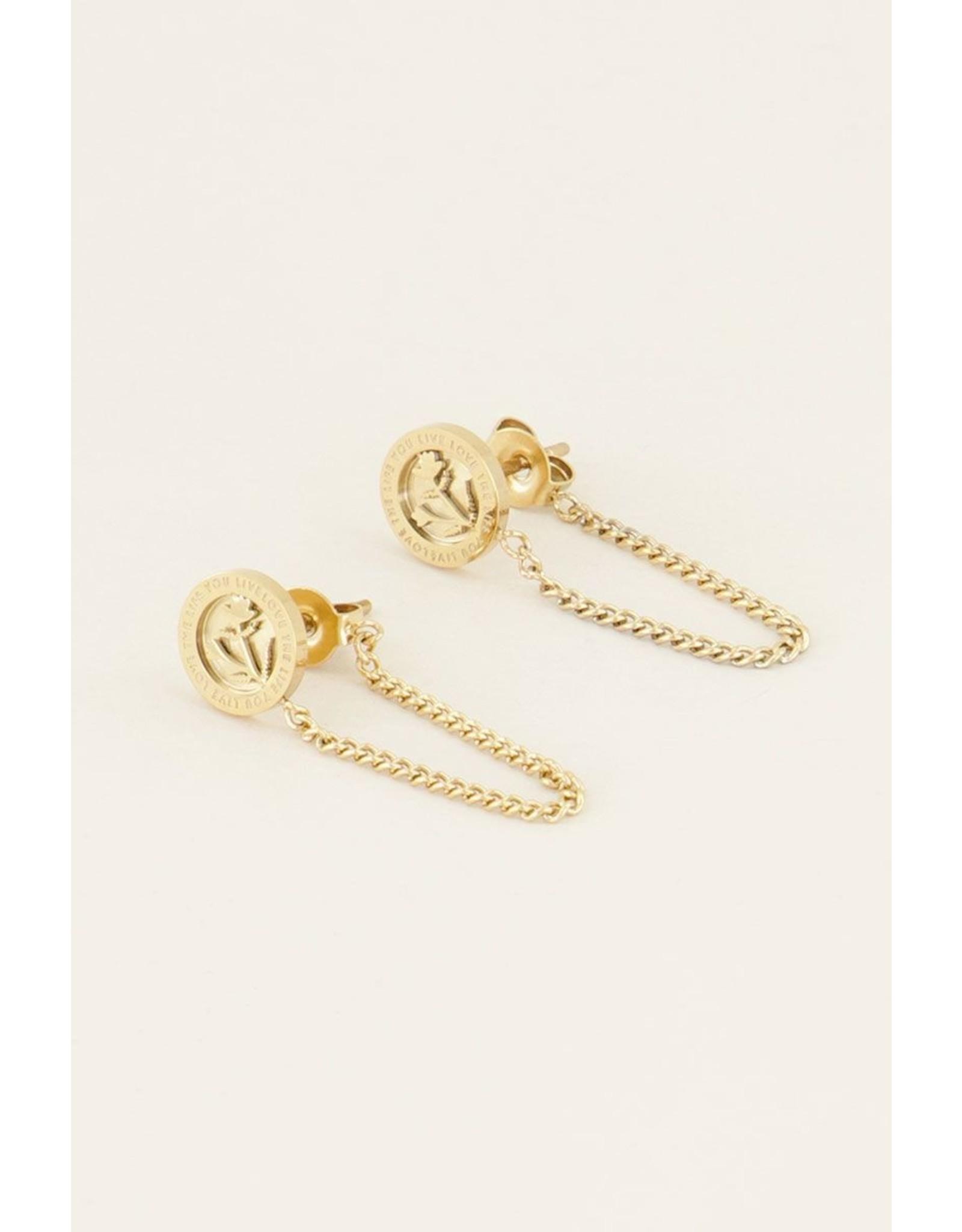 Oorhangers bloem chain goud