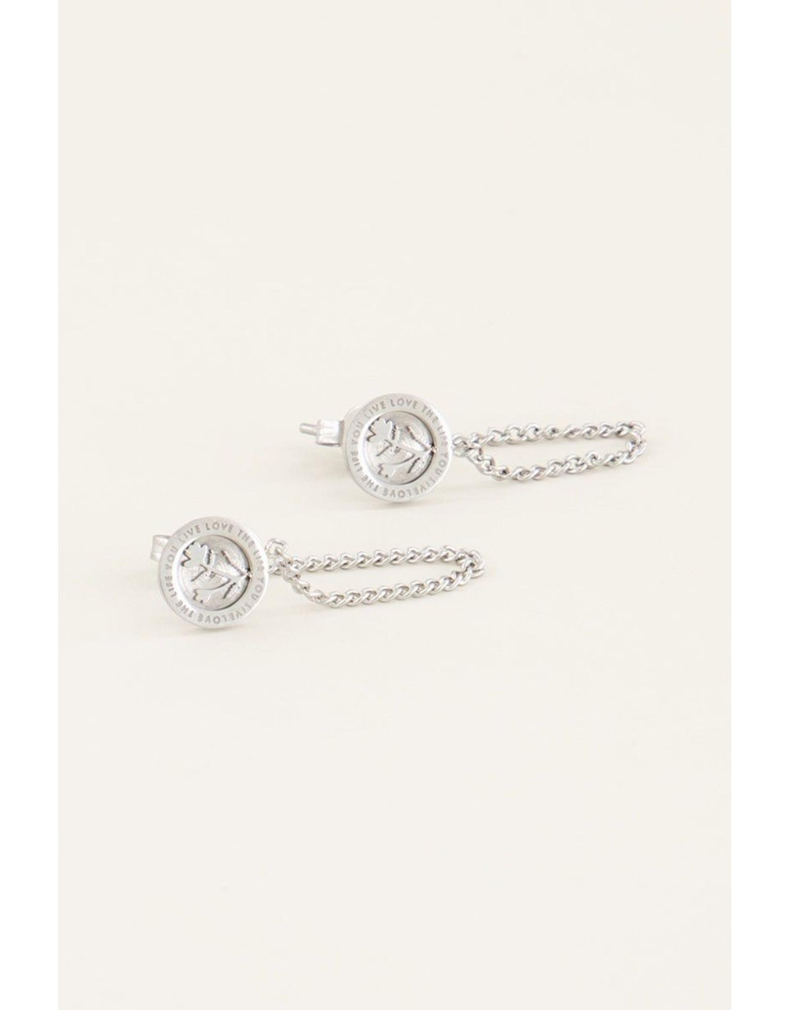 Oorhangers bloem chain zilver