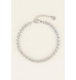 Armband platte schakel zilver
