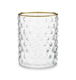 Theelichthouder glas bolletjes