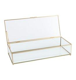 Glazen kistje gouden frame L