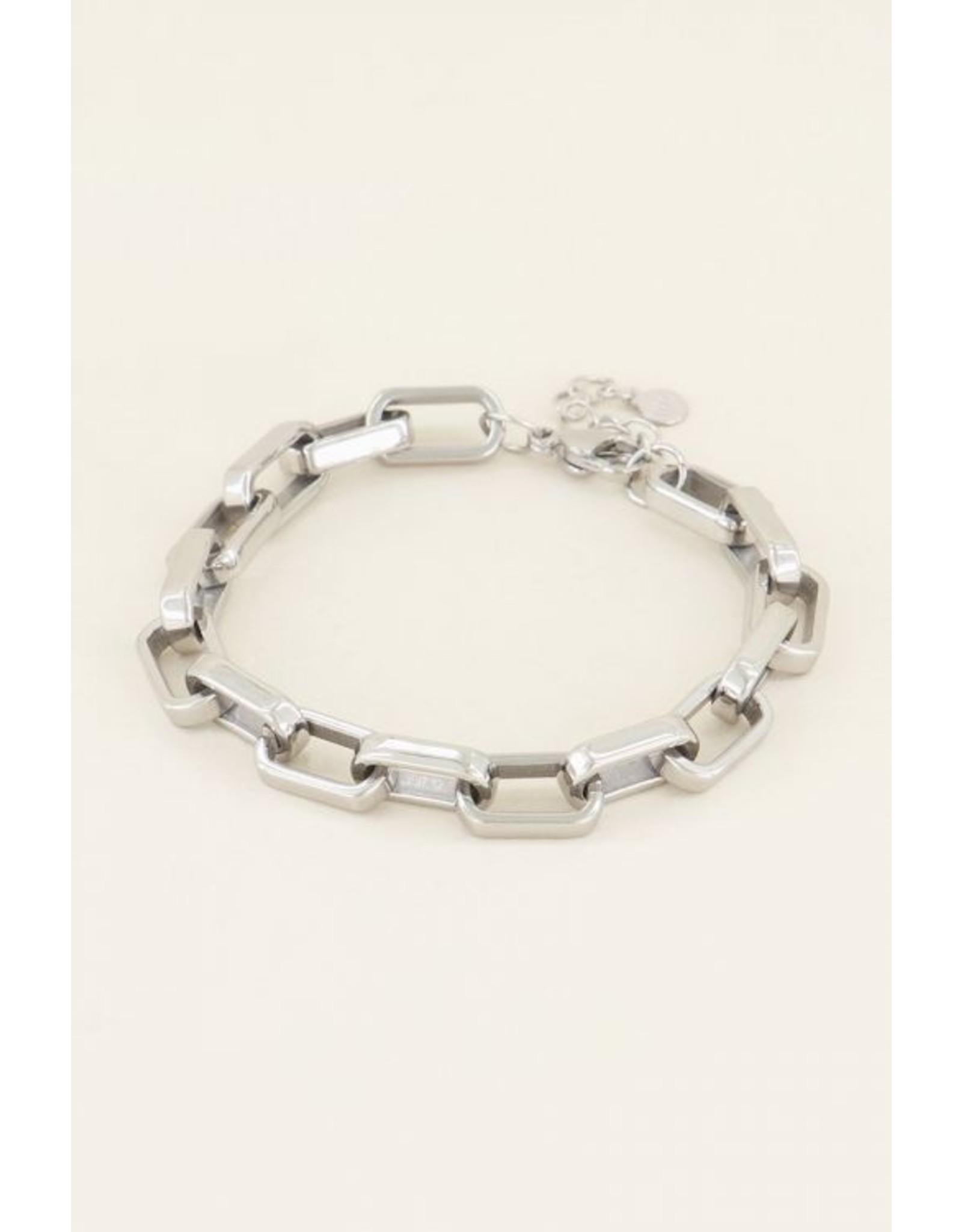 Armband ovale schakels zilver
