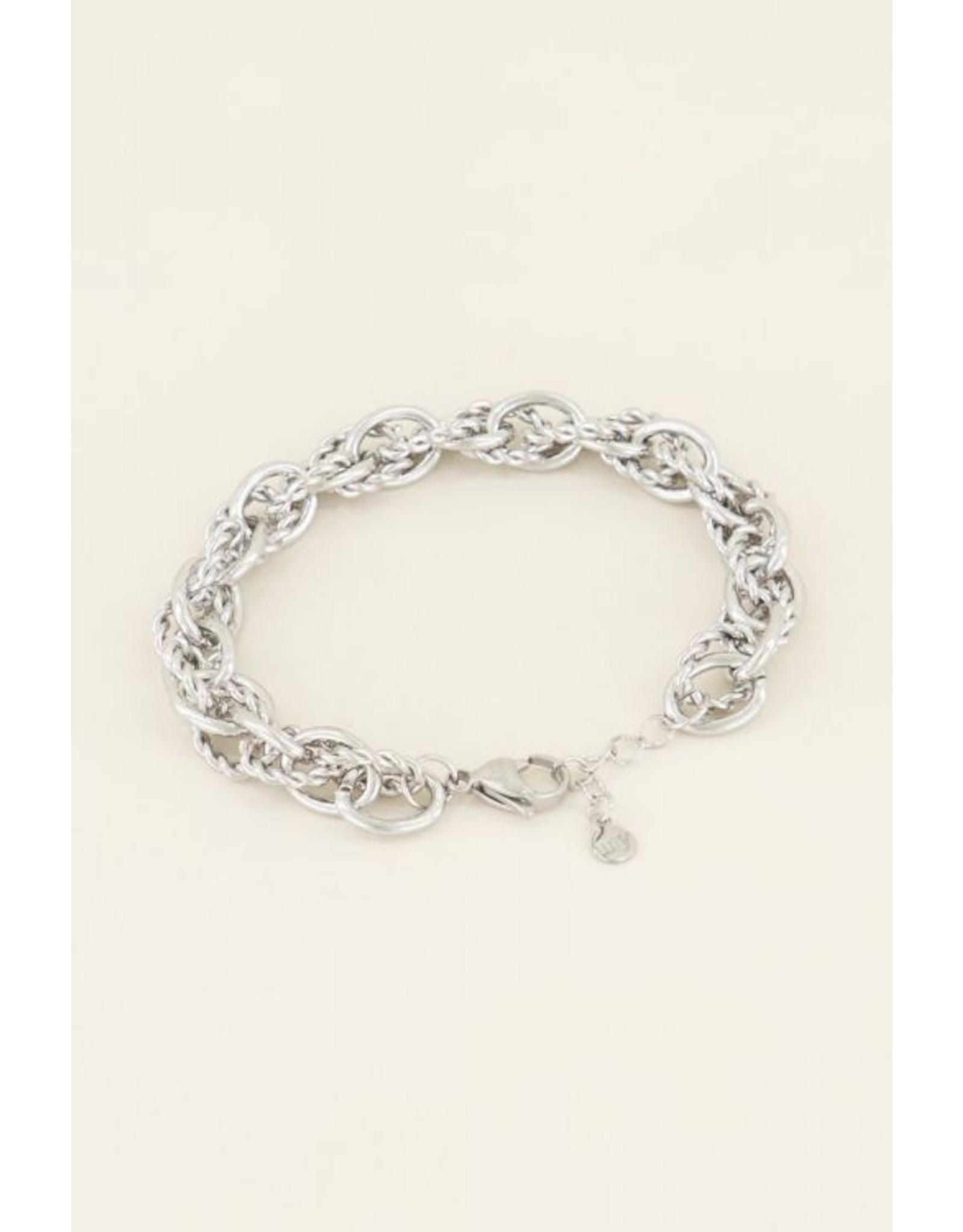 Armband verschillende schakels zilver