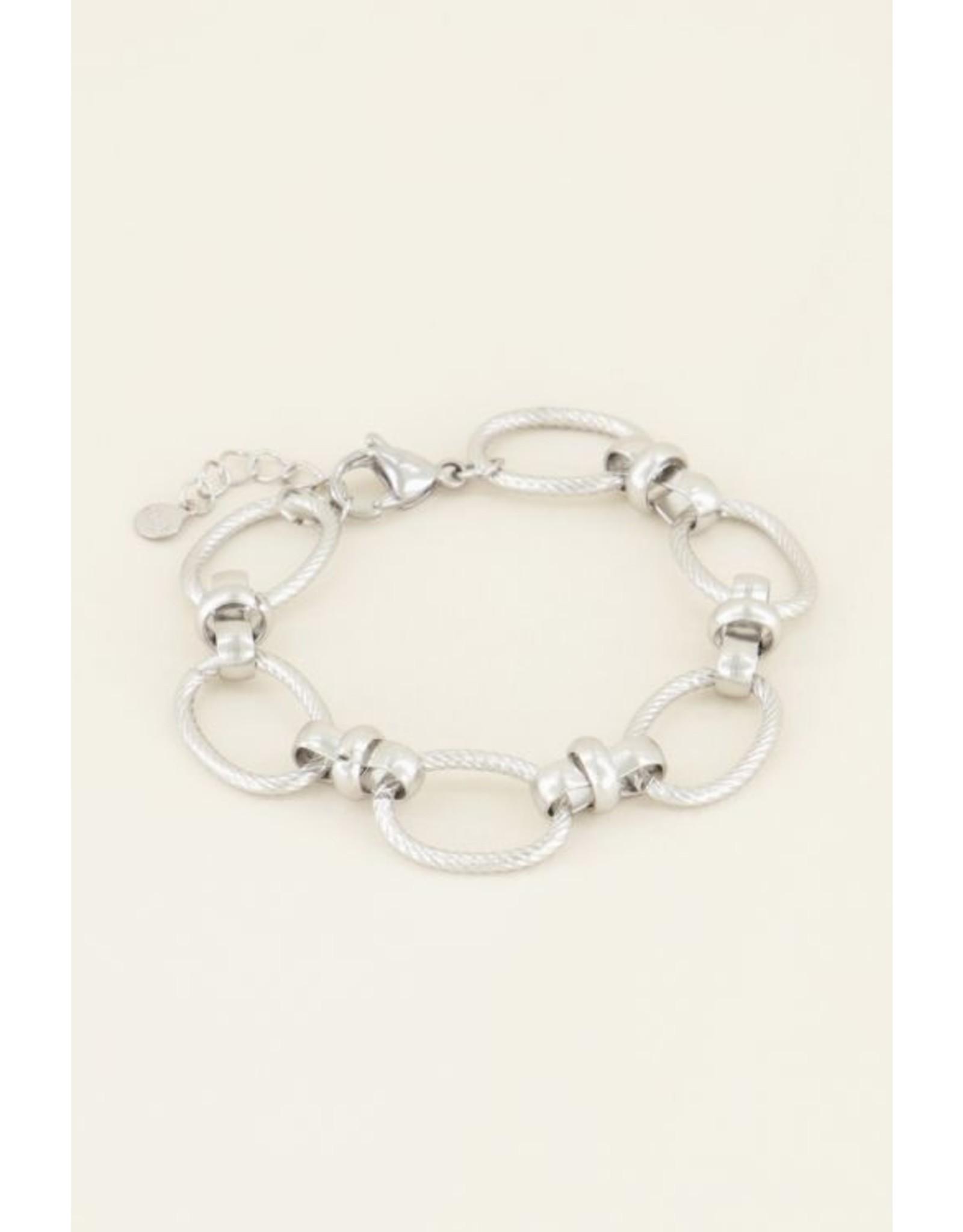Armband grove ovale schakels zilver