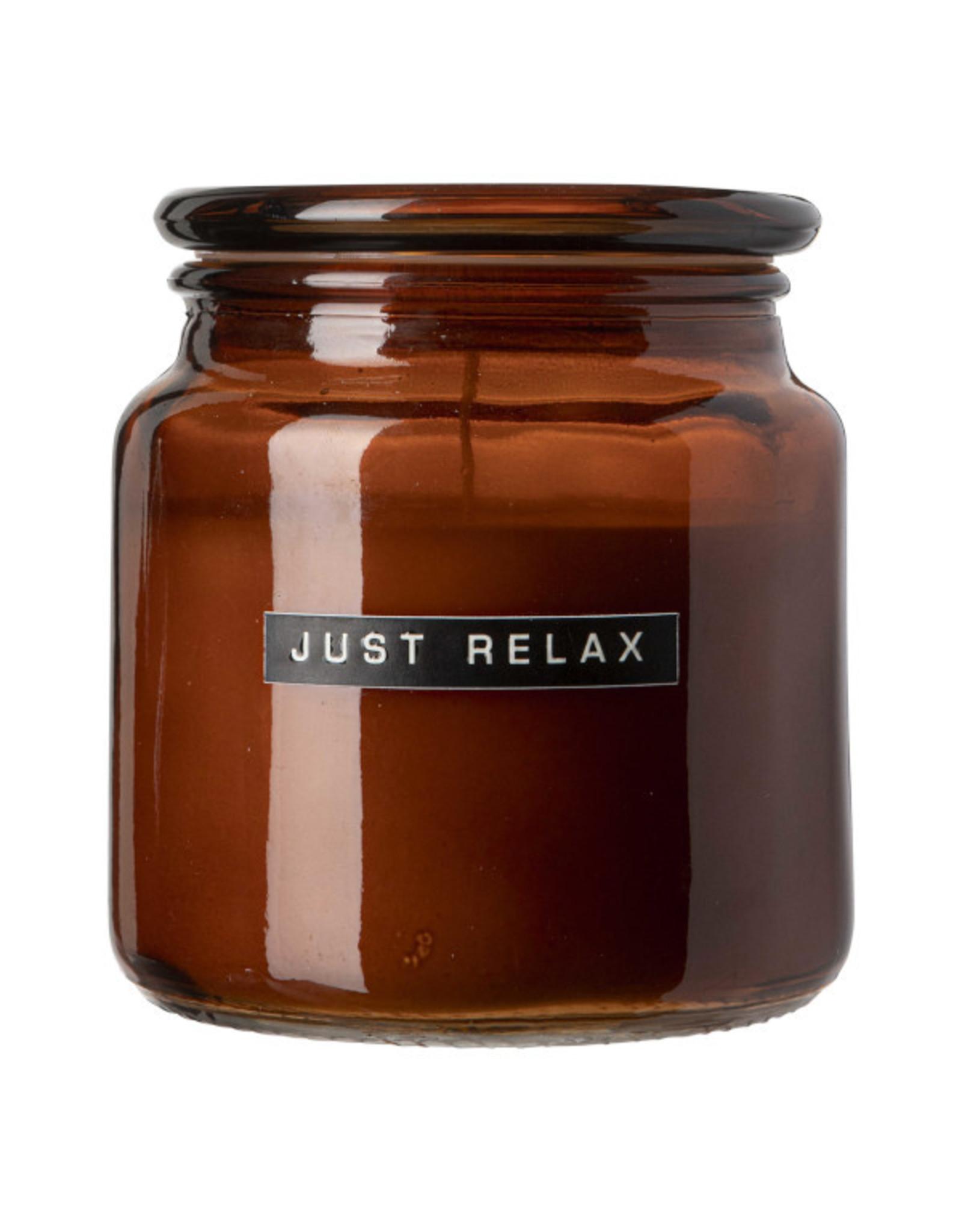 Geurkaars bruin 'Just Relax'