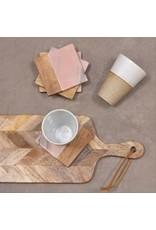 Set van 4 onderzetters roze marmer