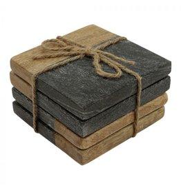 Set van 4 onderzetters zwart marmer