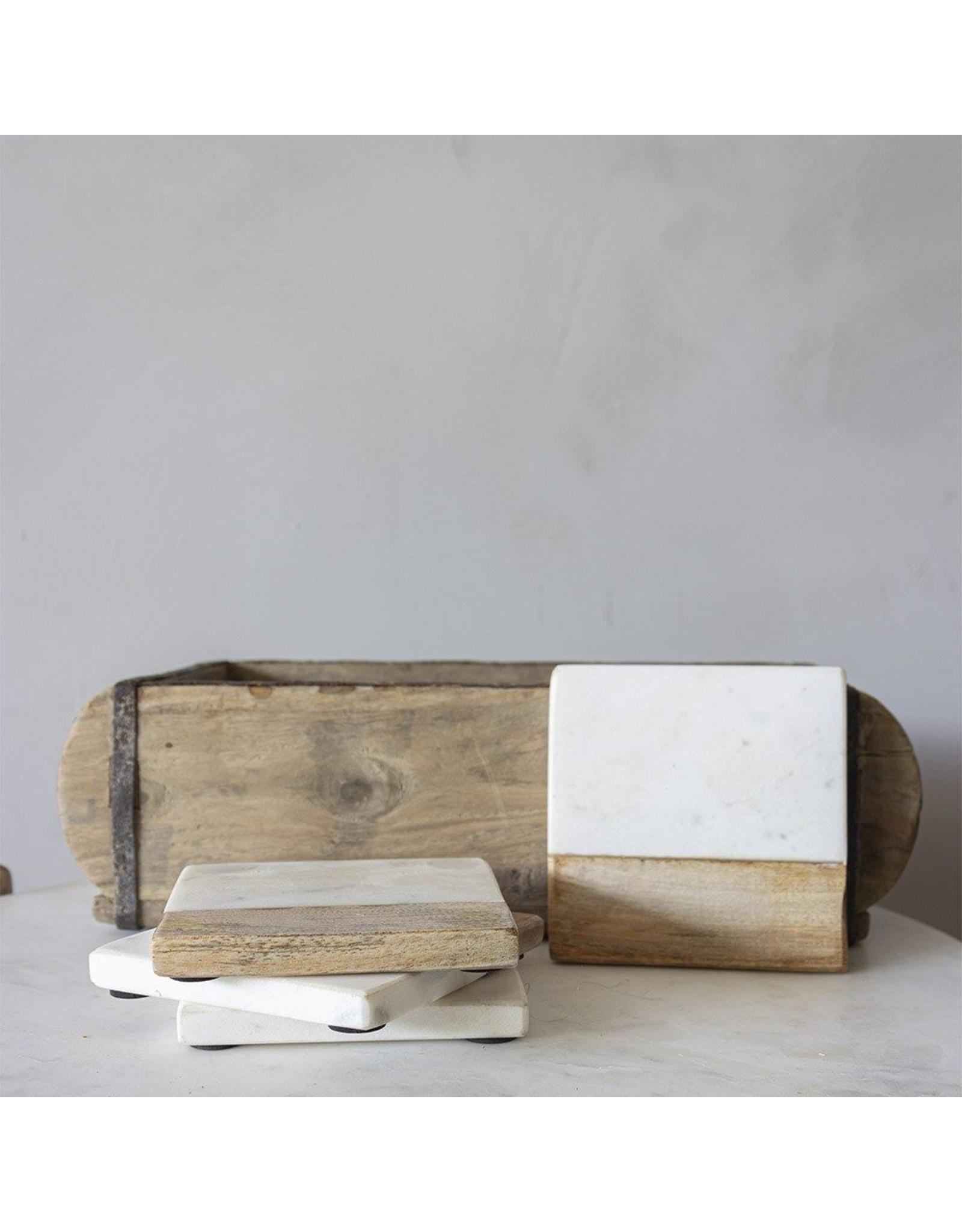 Set van 4 onderzetters wit marmer