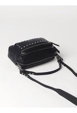 Handtas zwart leder studs