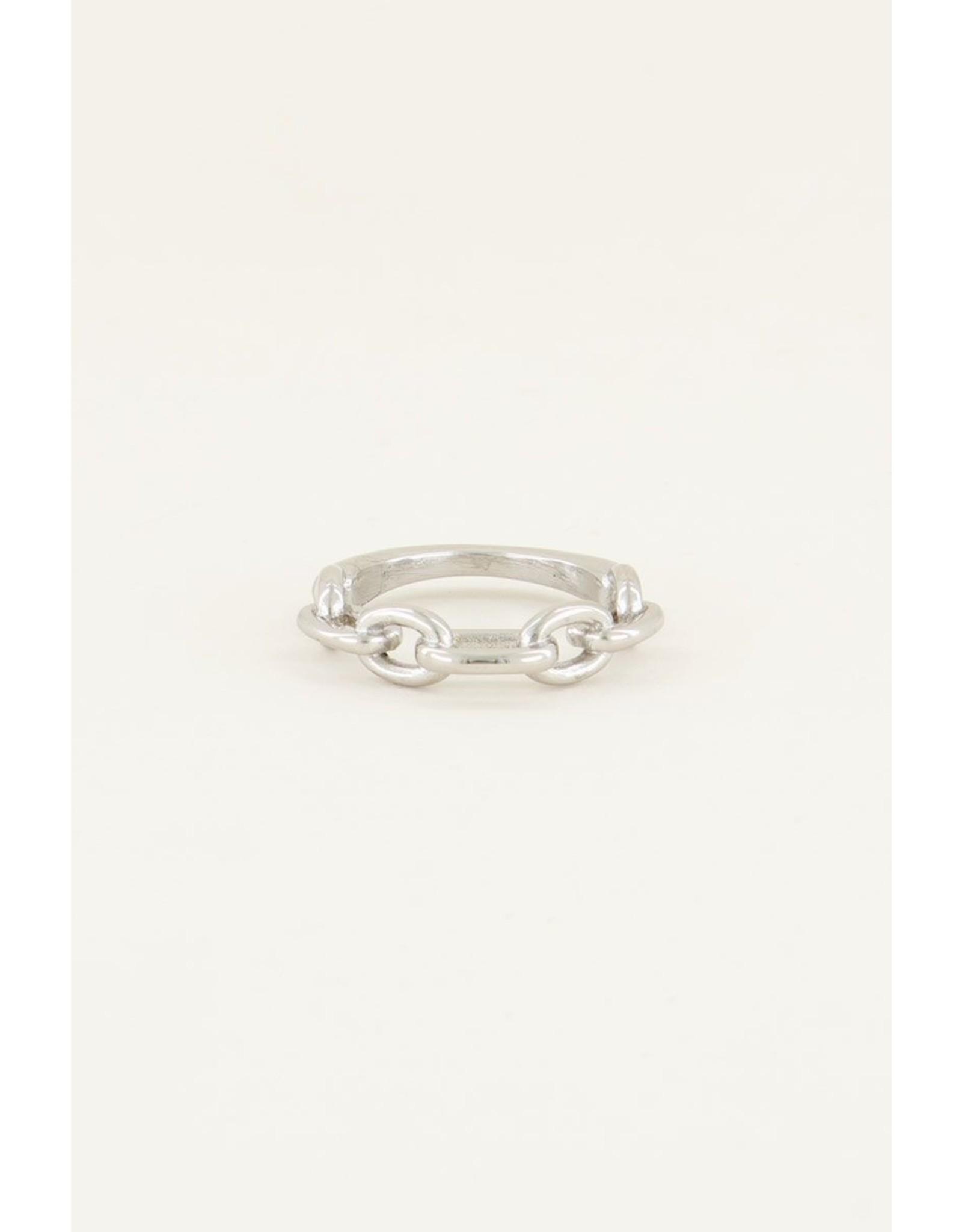 Ring smalle schakel zilver