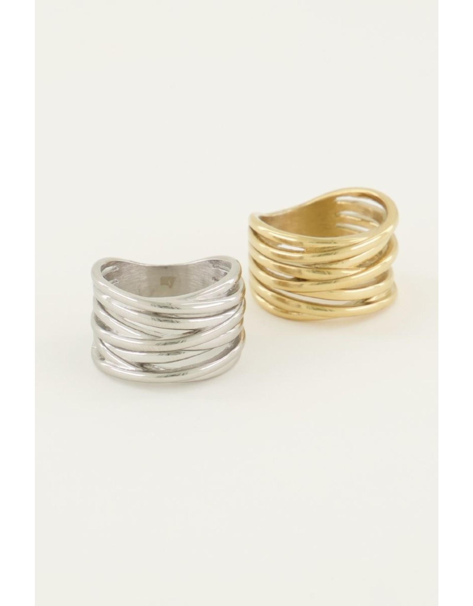 Ring breed open zilver