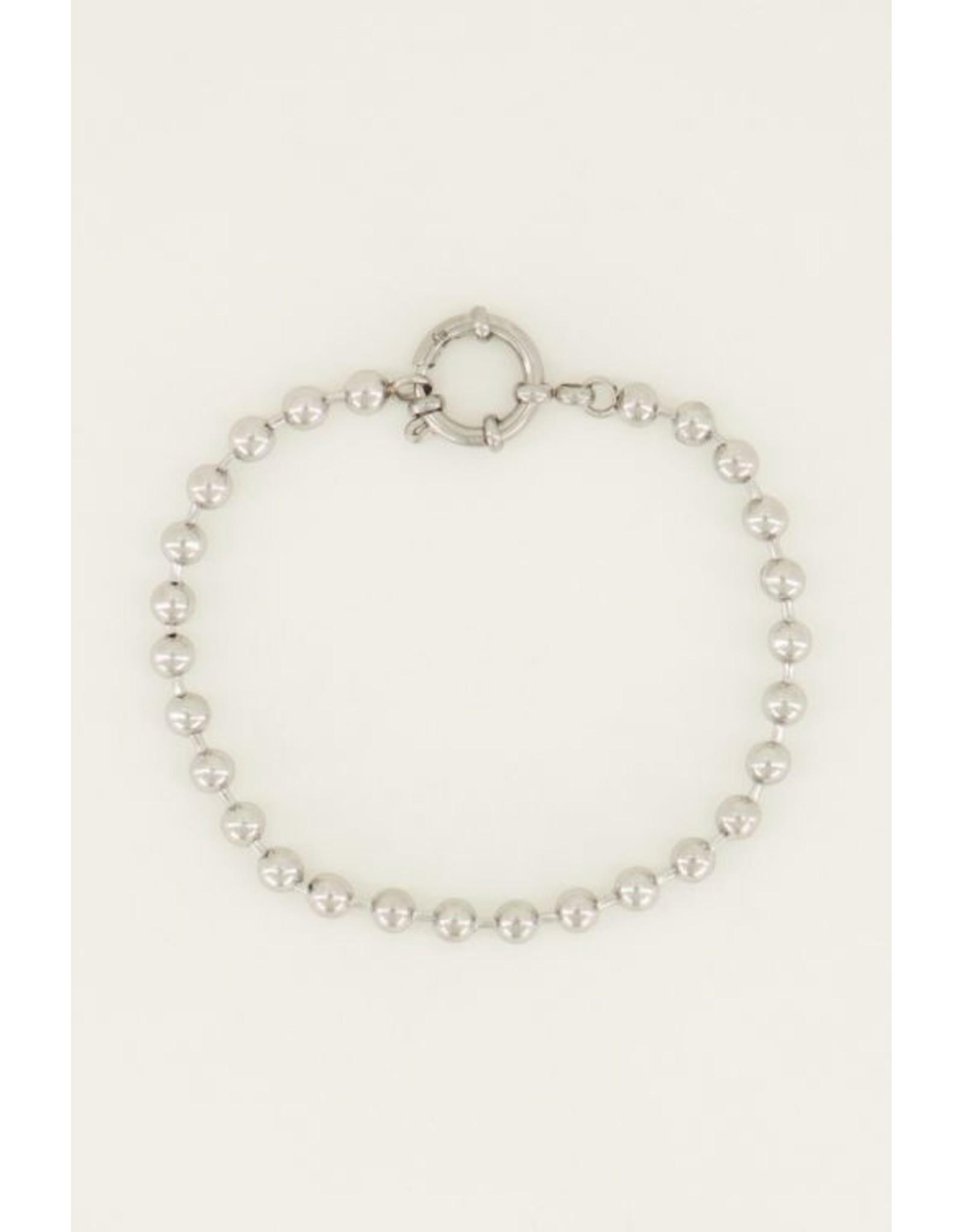 Armband bolletjes ronde sluiting zilver