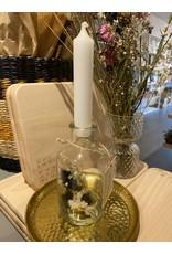 Droogbloemen glas + kaars wit/zwart