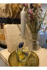 Droogbloemen glas + kaars Geel/Paars
