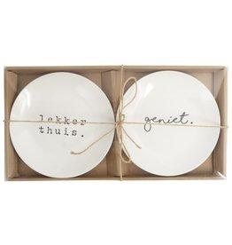 Set van 2 bordjes Geniet & Lekker thuis