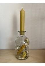 Droogbloemen glas + kaars geel